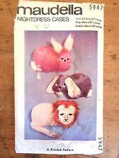 ~VINTAGE MAUDELLA PATTERN No. 5947 - NIGHTDRESS CASES-LION, DOG, RABBIT-UNUSED~