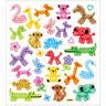 Luftballon Tiere Sticker mit Glitzer - Blatt 15 x 16,5 cm - Deko Aufkleber bunt