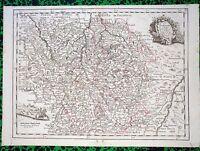 XVIII ème - La Lorraine Carte par Le Rouge 31 x 22 cm  Editée en 1743