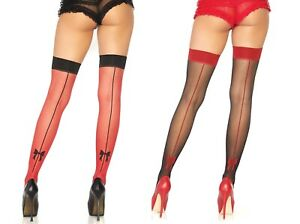 Black/Red Thigh High Stockings W/Woven Backseam W/Bow Detail, Christmas, Pin-Up