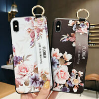 Cute Flower Cat Phone Case Cover +Wrist Strap For iPhone X XS Max XR 6S 7 8 Plus