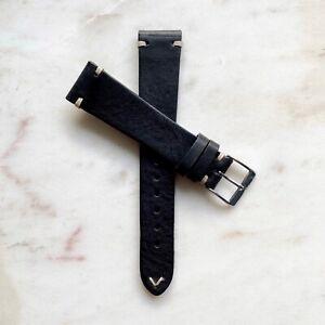 19mm Handmade Black Vintage Distressed Genuine Leather Watch Strap Band