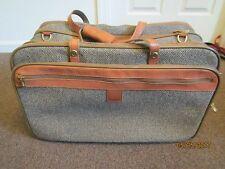 "HARTMANN TWEED & LEATHER 22"" EXPANDABLE TRAVEL LUGGAGE MULTIPLE COMPARTMENT"