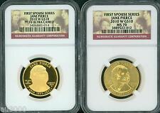New listing 2010-W $10 Gold Spouse Jane Pierce Ngc Pr70 Pf70 & Ms70 2-Coins Set !