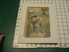 vintage print -- 1800's boy kissing girl, under a hot air balloon WOW mounted