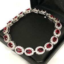"Gorgeous Red Ruby Diamond Halo Tennis Bracelet 14K White Gold Plated Jewelry 7"""