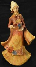 "9"" Roman Inc Harvest Thanksgiving Autumn Woman Statue Wood Fruit Bowl Cornucopia"