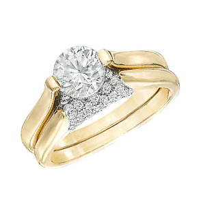 1.5 Ct Simulated Diamond Bridal Set In 10K Two-Tone Gold