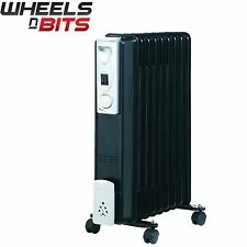7 Fin 1500W Portable Electric Oil Filled Radiator Electrical Shed Heater Black