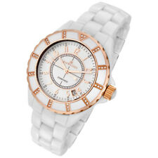 Rougois Women's White Ceramic Watch with Rose Gold and Diamonds 68009GGW
