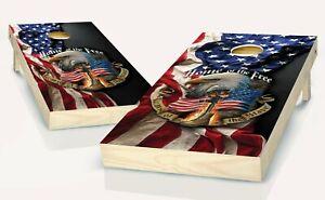 Cornhole American Flag Patriotic Board Vinyl Wrap Laminated Sticker Set Decal