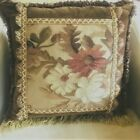 """Antique Floral Tapestry 16"""" Square Throw Accent Pillow Feather Insert"""