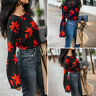 VONDA Women Loose Bell Sleeve Floral Printed Top Blouse Hips Casual T-Shirt Tee
