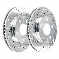 [2 FRONTS]  2 Platinum Hart *DRILLED & SLOTTED* Front Disc Brake Rotors - 1449