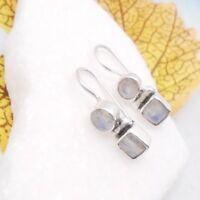 Mondstein blau weiß rund eckig Design Ohrringe Ohrhänger 925 Sterling Silber neu