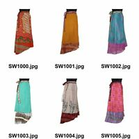 Vintage Indian Silk Sari Magic Wrap Around Skirts Beach Wear Skirt