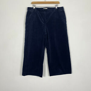Hobbs Navy Blue Corduroy Cullotte Cut Off Wide Leg Chino Trousers Size 16