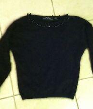 Euc- Beautiful Linda Allard Ellen Tracy Black Angora Jeweled Sweater- size petit