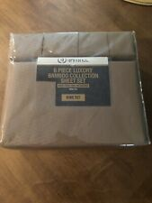 Dahdoul 6 Piece Luxury Bamboo Collection Brown King Sheet Set Wrinkle Free New