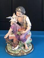 "Vintage 7"" Lady Woman sitting on tree Wall holding dove bird ceramic figurine"