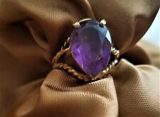 14K  YELLOW GOLD COCKTAIL RING with PEAR SHAPE AMETHYST STONE * SIZE 6