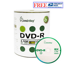 100 Pcs SmartBuy Blank DVD-R DVDR 16X 4.7GB Logo Top Surface Recordable Disc