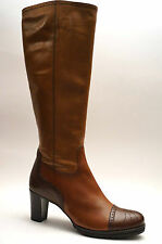 2283# Maripe Zapatos Botas Piel Tacón Talla 41 GB 7,5 Marrón