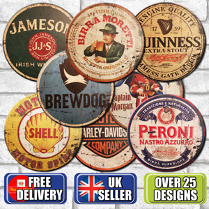 Wood Bar Signs Vintage Retro Pub Man Cave Wall Sign Wooden Circle Plaques. UK