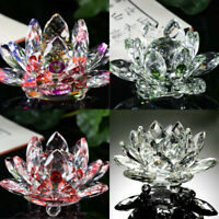 Lotus Crystal Glass Figure Paperweight Ornament Home Office Decor Collection US