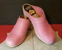 Swedish Hasbeens Slip On Leather Clogs Pink Runway Platform Shoes *8 3/8 Length*