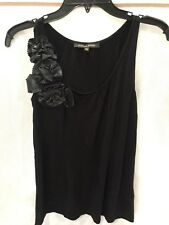 CYNTHIA BLACK TANK TOP FLOWERS EMBELLISHED SIZE XS EXTRA SMALL