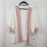 Style & Co Open Front Plus Size Cardigan White Red Embroidery Plus Size 2X NWT