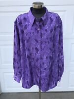 Susan Graver Purple Peach Skin Animal Print Long Sleeve Top Blouse 3X