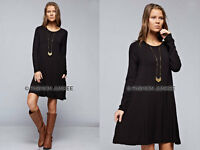 BLACK 52 POCKET TUNIC DRESS Shirt Top A-Line Jersey Long Sleeve Basic S M L XL