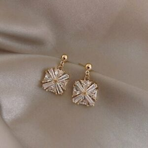925 Silver Square Rhinestone Earrings Drop Dangle Stud Charm Women Wedding Gift