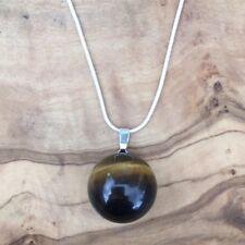 "Tiger's Eye Ball Sphere Pendant 20mm 20"" Silver Necklace Positivity Abundance"