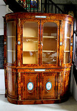 A SUPERB INLAID BURR WALNUT CREDENZA WITH DISPLAY CABINET BOOKCASE AFTER ANTIQUE