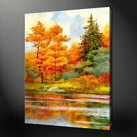 AUTUMN FOREST RIVER WATERCOLOUR STYLE CANVAS WALL ART PRINT READY TO HANG