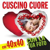 CUSCINO CUORE RETRO ROSSO cm 40X40 PERSONALIZZABILE FOTO  TESTO CON IMBOTTITURA