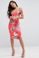 ASOS Sweetheart Bardot Bright Floral Midi Orange Dress Sizes 6-16