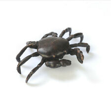 Bronze crab, miniature metal sea life sculpture, bonsai ornament