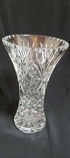 More details for large vintage waisted cut glass crystal vase 10.5 inches heavy approx 2 kg