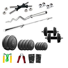 Fitfly Home Gym Set 24 Kg Plates with 5Ft Plain 3Ft Curl Rod Gloves Dumbbells