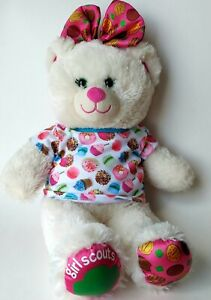 """Build A Bear White Girl Scouts Bear with Bow With Desserts Shirt 16"""""""
