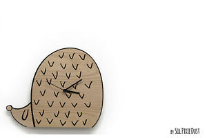 Cute Hedgehog - Wooden and Acrylic Wall Clock - Kids Nursery Room - Teens Room