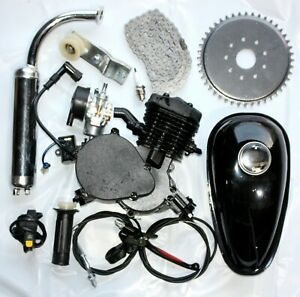BLACK 80CC 2 Stroke Motorised Bike Gas Motor Engine Kit Motorized Push Bicycle