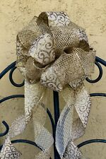 "9"" Handmade Burlap Gold Glittered Mesh Christmas Tree Topper Gift Bow 10"""