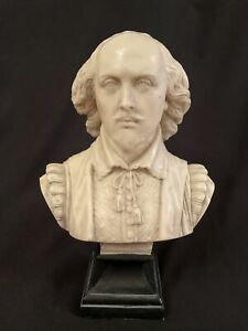 SUPERB RESIN MARBLE TYPE BUST SCULPTURE WILLIAM SHAKESPEARE ~ 31cm Tall