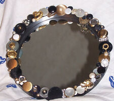 "ART DÉCO*  inspired HAND CRAFTED  CIRCLE 11"" MIRROR EMBELLISHED *VINTAGE BUTT"