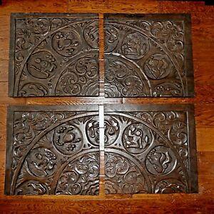 "Vintage 35"" Brutalist Wall Art Astrological Zodiac Signs in Carved Wood 4 Panels"